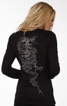 Crystal Kanji Dragon Long Sleeve Burnout