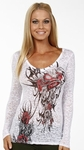 Crown Tribal Heart Long Sleeve Burnout