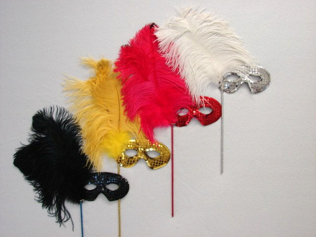 Traditional Sequin Mask on a Stick Set