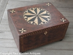Antique Folk Art Compass Rose Painted Box