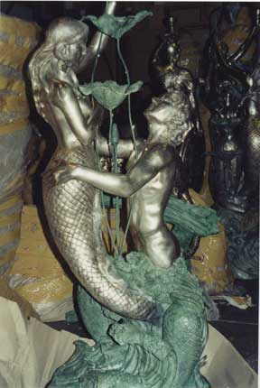 Bronze  Man with Mermaid  Lovers Fountain