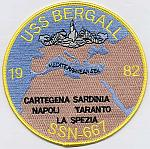 USS Bergall SSN 667 - Med 82 Patch