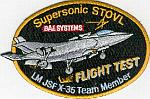 X-35 Supersonic STOVL - Team Member Flight Test Patch