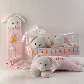 Bailey the Bunny Cashmere Soft Booster Pillow and Growth Chart Gift Set