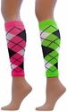 Neon Argyle Sport Compression Leg Sleeves - 2 Color Options