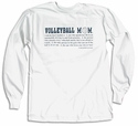Volleyball Mom Definition Design Long Sleeve Shirt - in 18 Shirt Colors
