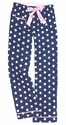 Navy Blue Polka Dot Flannel Pants - Choice of 22 Sport Imprints - Leg or Rear