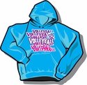 Turquoise Volleyball Hooded Sweatshirt