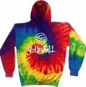 Abstract Volleyball Tie-Dye Hooded Sweatshirt - in 4 Bright Colors