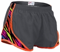 Soffe�s Metal Grey & Neon Stripes w/ Orange Piping Track Shorts