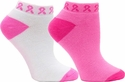 Pink Ribbon Low-Profile Footies - 2 Color Options