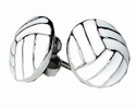 Round White Volleyball Post Earrings