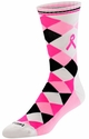 Black, White & Pink Ribbon Argyle Crew Socks