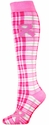 Pink Ribbon Awareness Plaid Knee-High Socks