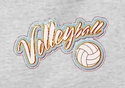 'Distressed' Volleyball Script Design Long Sleeve Shirt - in 18 Shirt Colors