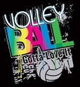 Neon Retro Black  Volleyball T-Shirt