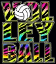 Neon Zebra Black Volleyball T-Shirt