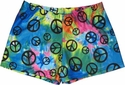 Peace Sign Pastel Tie-Dye Spandex Shorts
