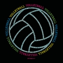 Volleyball Glitter Ball Black T-Shirt