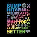 Volleyball Glitter Words Black T-Shirt