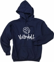 Abstract Volleyball Hooded Sweatshirt - in 20 Colors