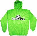 Volleyball Rising Tie-Dye Hooded Sweatshirt - in 4 Bright Colors