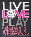 LIVE LOVE PLAY VBALL Design Dark Grey Volleyball T-Shirt