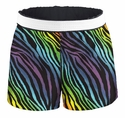 Soffe Rainbow Zebra Stripe Shorts - Choice of Sport Imprints - Leg or Rear
