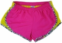 Soffe�s Neon Pink & Bright Yellow Zebra Pipe Track Shorts