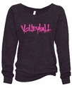 Ladies Abstract Volleyball Black Burnout Fleece Crew - in 5 Design Colors