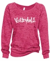Hot Pink Ladies Burnout Fleece Crew w/ Abstract Volleyball Design in 5 Colors