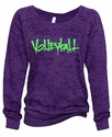 Purple Ladies Burnout Fleece Crew w/ Abstract Volleyball Design in 5 Colors