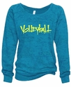 Ladies Abstract Volleyball Blue Crew Burnout Fleece - in 4 Design Colors