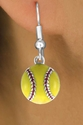 Yellow Softball Fishhook Earrings