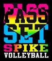 Pass Set Spike Heart Volleyball Black T-Shirt