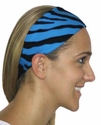 Turquoise Blue Zebra Stripe Spandex Fabric Headband