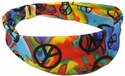Peace Sign Rainbow Tie-Dye Spandex Fabric Headband