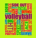 Neon Volleyball Words Bright Yellow Long Sleeve Shirt