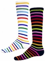 Multi-Color Stripe Knee-High Socks - in White or Black