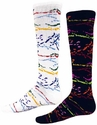 Multi-Color Paint Splatter Knee High Socks - in White or Black