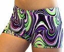 Purple & Green Twister Spandex Shorts