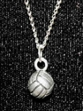 Volleyball Pewter Charm Necklace