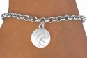 White Volleyball Silver Charm Bracelet