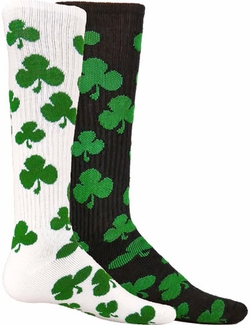 Green Shamrock Knee-High Socks - in White or Black