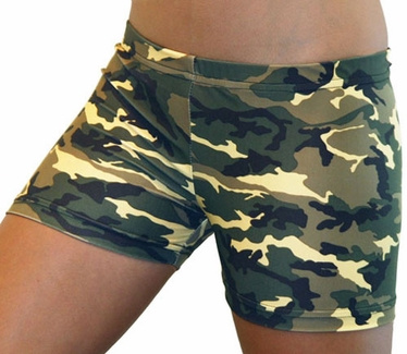 Green & Brown Camo Spandex Shorts