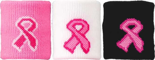 Pink Ribbon Breast Cancer Wristbands - in 3 Colors
