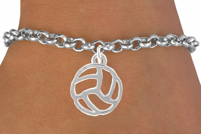 Abstract Volleyball Silver Charm Bracelet