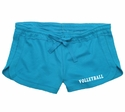 Turquoise Blue Volleyball Leg Imprint Fleece Chrissy Short
