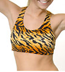 Orange Tiger Printed Sports Bra