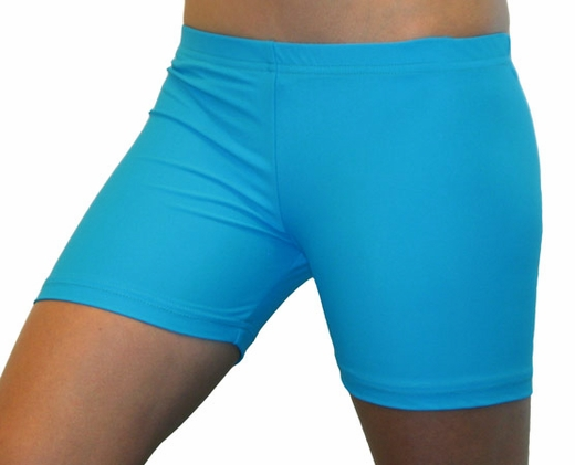 Very Bright Neon Blue Turquoise Women's Volleyball Spandex Sport Shorts will be Lots of Fun to wear at camp, during practice, or just while working out.